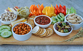 Vegetable Crudites and Dips/ vegetable platter, healthy eating. Gluten free, paleo diet. Selective focus.