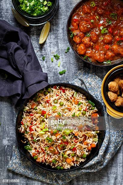 Vegetable Fried Rice with Soyabean Manchurian (An Indo-Chinese Cuisine)
