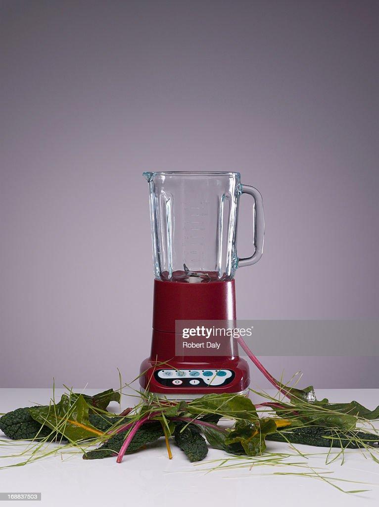 Vegetable juice in blender : Stock Photo