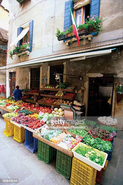 Vegetable market on a street, Venice, Italy