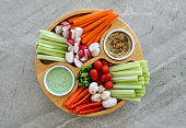 Vegetable Crudites and Dips/ vegetable platter with hummus and dill yogurt dip, healthy eating.