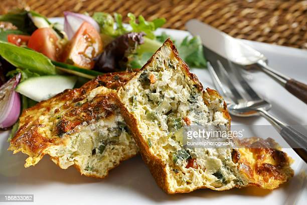 Vegetable Quiche with garden Salad, healthy Eating