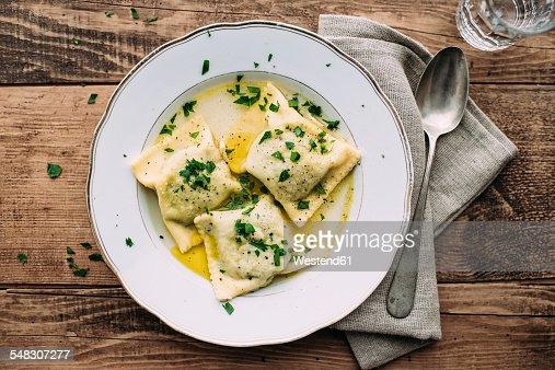 Vegetable ravioli in broth