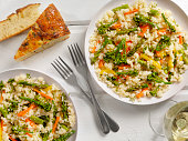 Vegetable Risotto with Fresh Parsley and Focaccia Bread