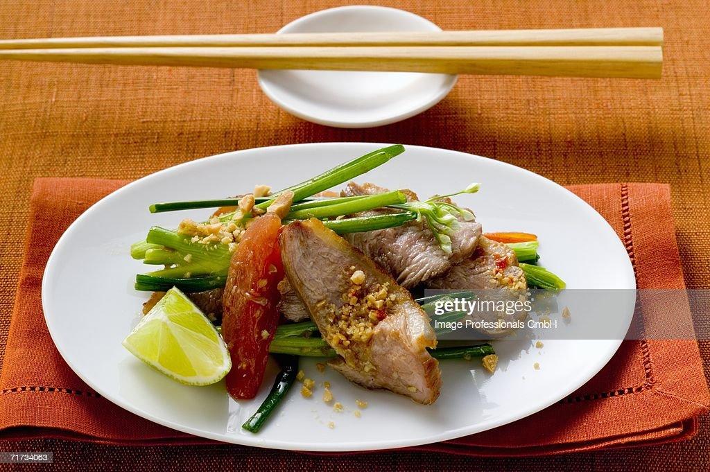Vegetable salad with pork (Asia) : Stock Photo