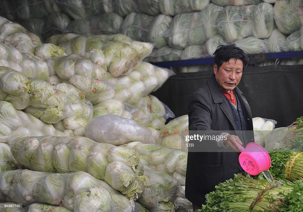 A vegetable seller waters his stock at a market in Hefei in eastern China's Anhui province on December 13 2009 China said it had ended an almost...