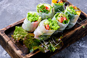 Assorted Asian spring rolls with vegetable and lettuce