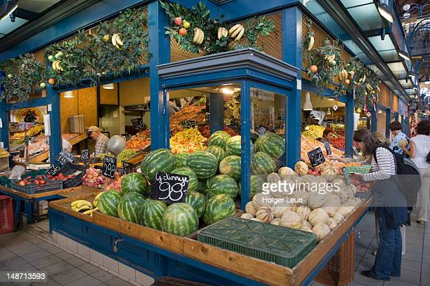 Vegetable stall in Central Market Hall.