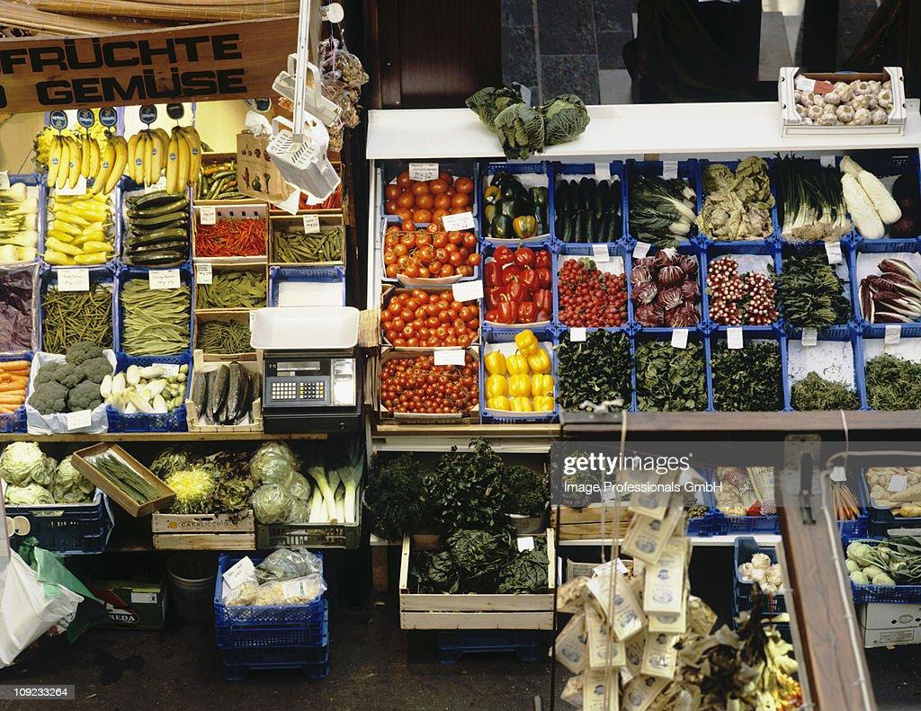 Vegetable stall in market