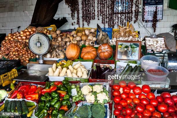 Vegetable stall in the Bolhão market in Porto, Portugal
