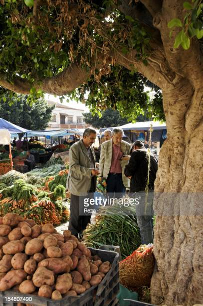 Vegetable stand at the market in the town center on April 14 in El Malah Algeria