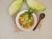 Vegetable stew with cone cabbage in soup bowl - Gemüseeintopf mit Spitzkohl in einer Suppenschüssel