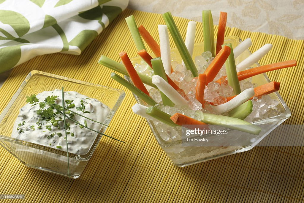Vegetable sticks and dip : Stock Photo