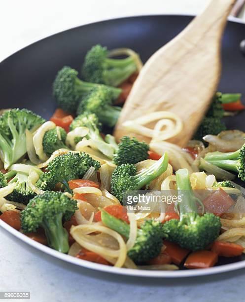 Vegetable stir fry in wok