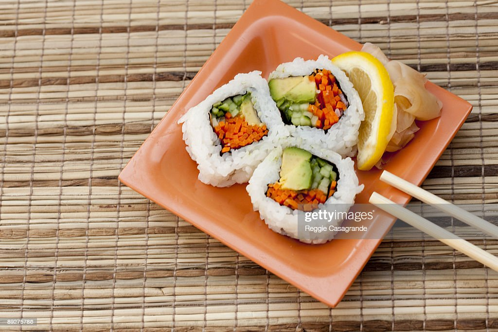 vegetable sushi roll : Stock Photo