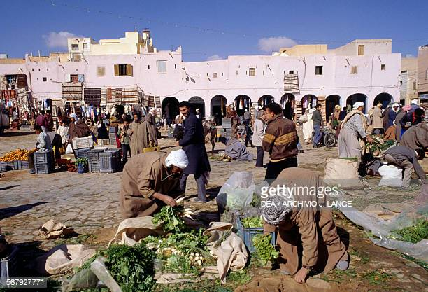 Vegetable vendor in Ghardaia market Algeria