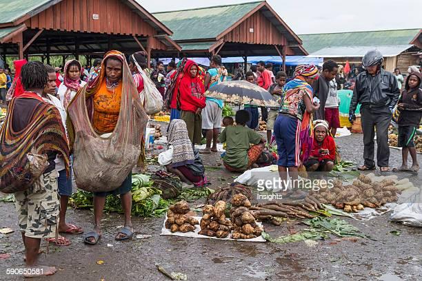 Vegetable vendors at the market Wamena Papua Indonesia