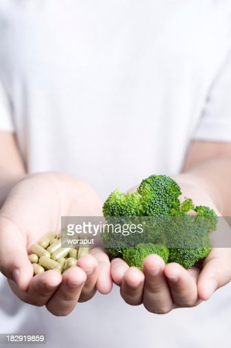 Vegetable with medicine.
