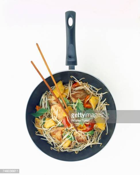 vegetables and meat in wok