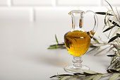 oliveoil with vegetables and salad bowl