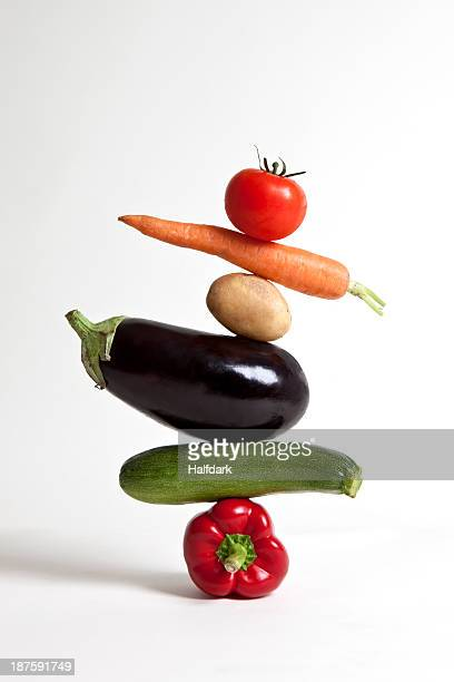 Vegetables arranged in a stack