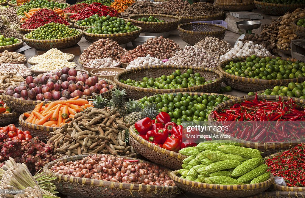 Vegetables at market, Hanoi, Vietnam : Stock Photo