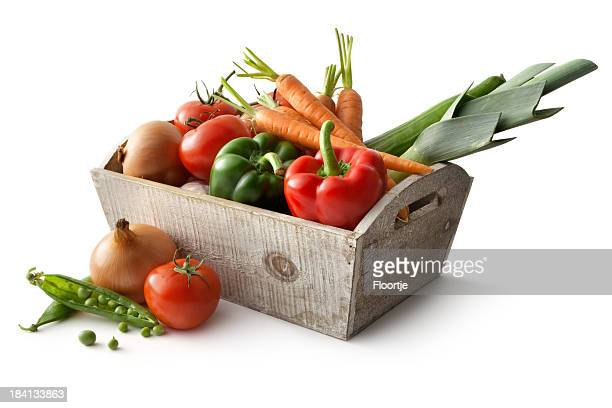 Vegetables: Bell Pepper, Leek, Carrot, Tomato, Onion and Peas