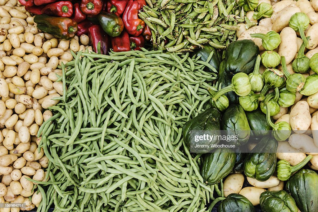 Vegetables for sale on a stall in a food market