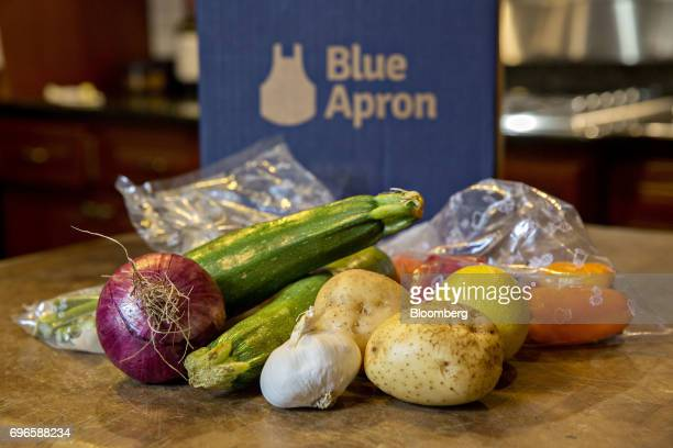 Vegetables from a Blue Apron Holdings Inc mealkit delivery are arranged for a photograph in Tiskilwa Illinois US on Wednesday June 14 2017 Blue Apron...