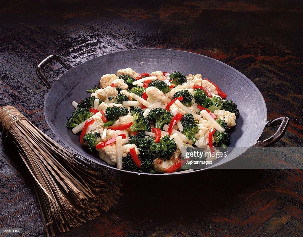 Vegetables in wok : Stock Photo