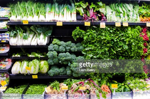 Vegetables on display in a supermarket : Stock Photo