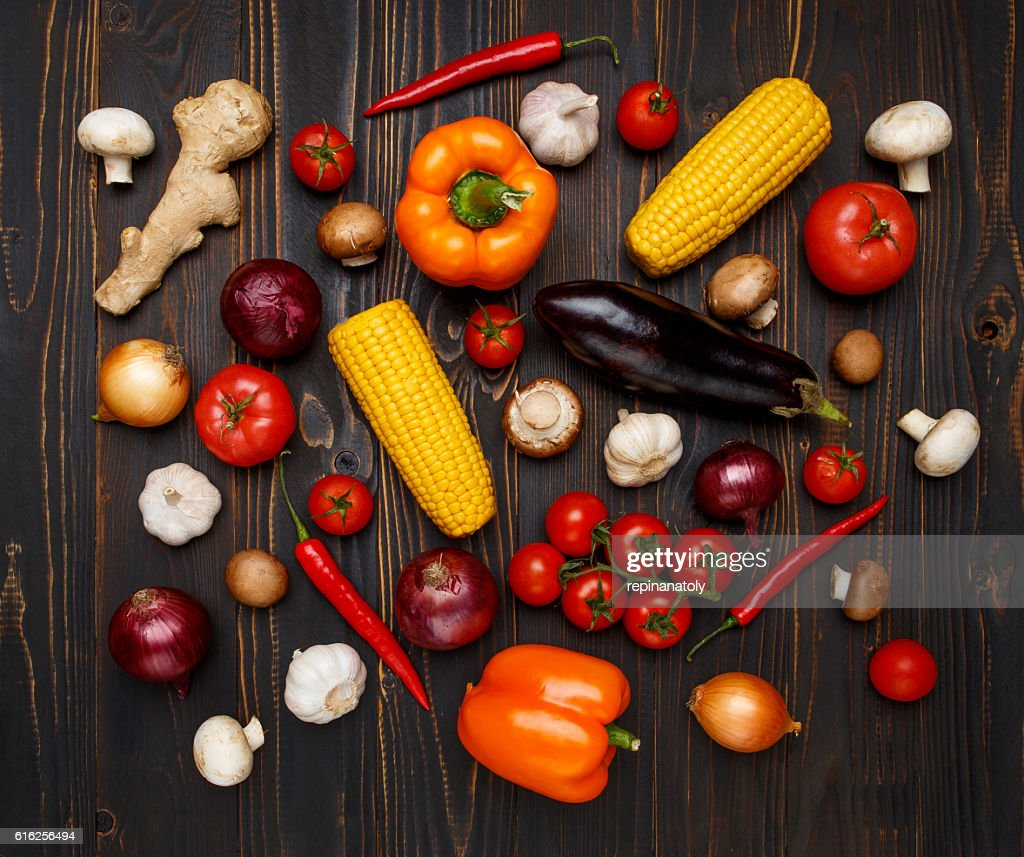 vegetables on wooden background : Stock Photo