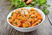 Vegetables salad with carrot on country table