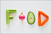 Vegetables spelling the word food