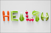 Vegetables spelling the word health
