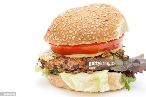 Vegetarische black bean hamburger auf Brötchen