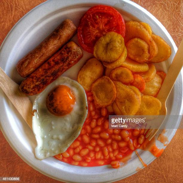 A vegetarian breakfast plate is seen at the 2014 Glastonbury Festival at Worthy Farm on June 27 2014 in Glastonbury England