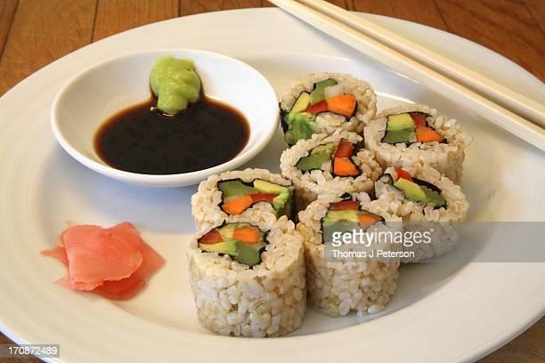 Vegetarian brown rice sushi