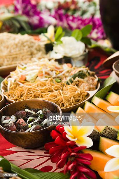 Vegetarian chow mein , poke , and melon