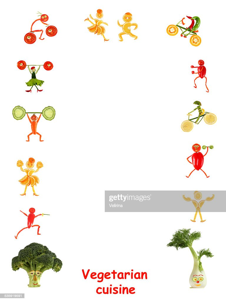 Vegetarian cuisine. Little funny people  - frame. : Stock Photo