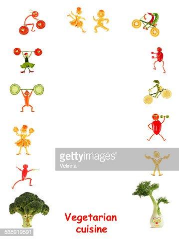Vegetarian cuisine. Little funny people  - frame. : Stock Photo