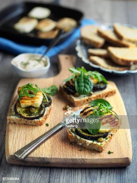 Vegetarian grilled aubergine open sandwich