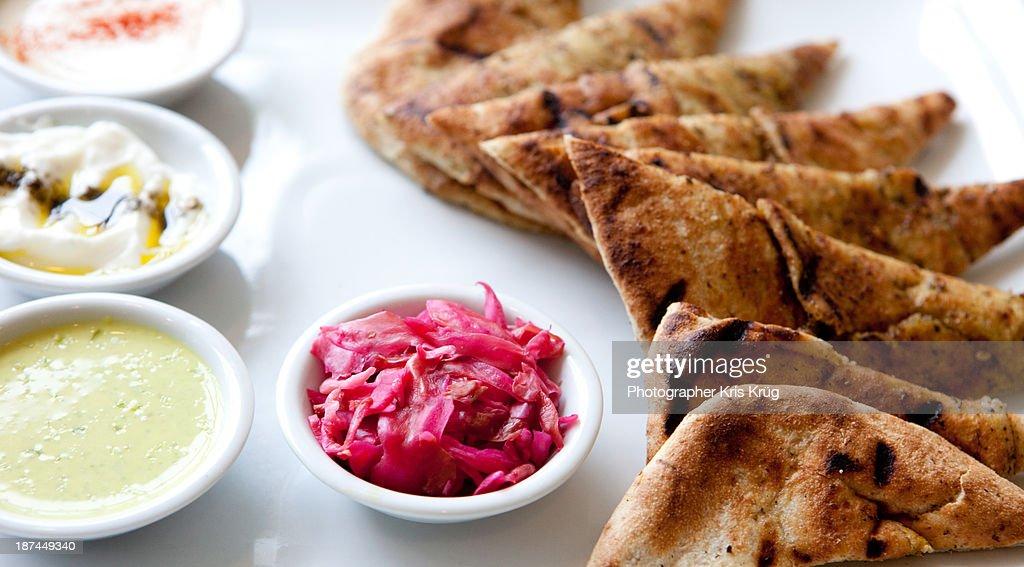 Vegetarian lunch pita & tziki veggie vegetable