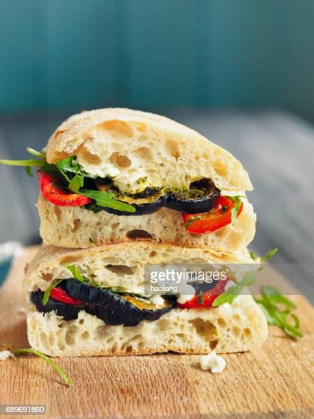 Vegetarian roasted aubergine ciabatta sandwich