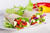Healthy Vegetarian Salad Tortilla wraps