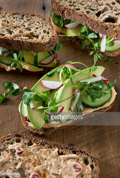 Vegetarian Sandwich's on a Rustic Wood Background.