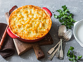 Vegetarian shepherd's pie. Potatoes, lentils and seasonal garden vegetables casserole. Autumn vegetarian lunch