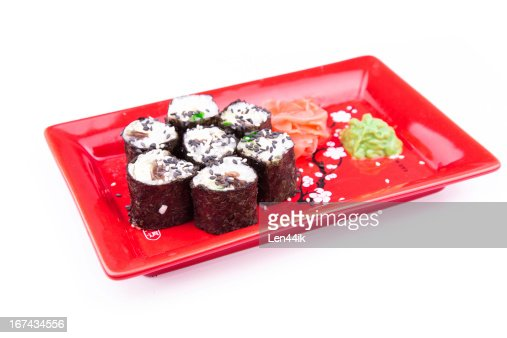 Vegetarian sushi roll served on a red plate : Stock Photo