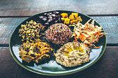 vegetarian thaliand poppadom on rustic surface