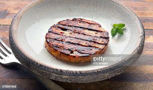 Veggie burger on wood
